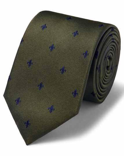 Cravate classique en tissu anti-taches olive à fleurs de lys
