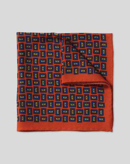 Geometric Wool Pocket Square - Orange & Blue