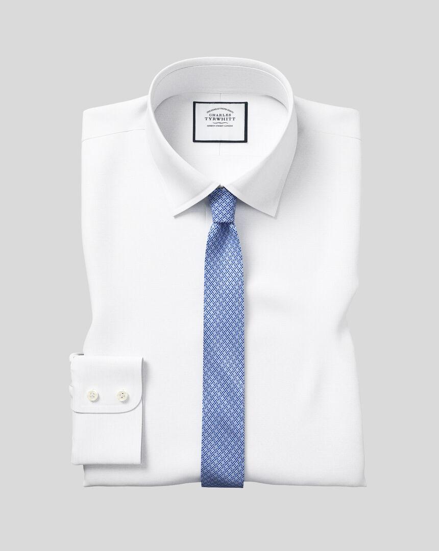 Popeline-Hemd mit Kent Kragen - Weiß