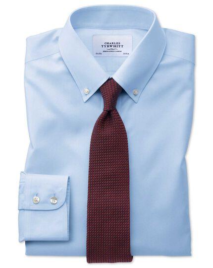 Bügelfreies Slim Fit Twill-Hemd mit Button-down Kragen in Himmelblau