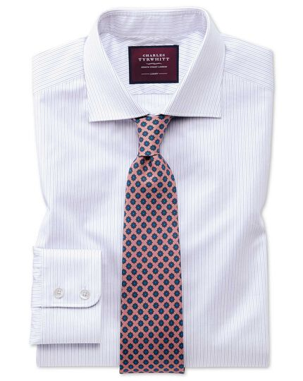Classic fit luxury fine stripe lilac shirt