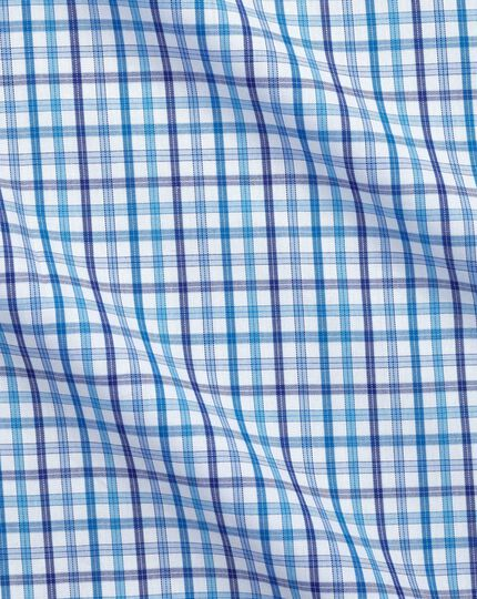 Extra slim fit poplin multi blue check shirt