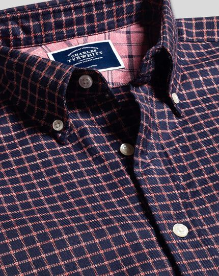 Button-Down Collar Non-Iron Twill Windowpane Check Shirt - Navy & Coral