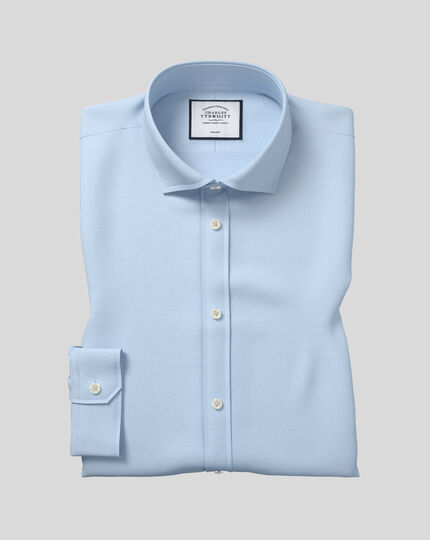 Spread Collar Non-Iron Poplin Shirt  - Sky