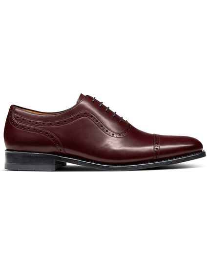 Burgundy Goodyear welted Oxford brogue shoes