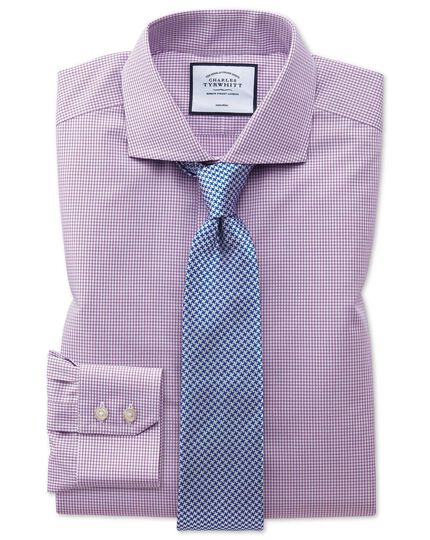 Extra slim fit spread collar non-iron pink check natural cool pink check shirt