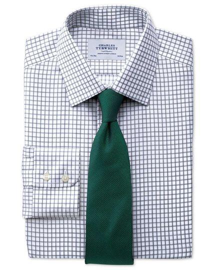 Bügelfreies Slim Fit Hemd in Indigoblau mit Windowpane-Karo