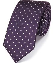 Purple and white printed spot slim tie