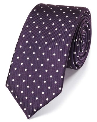 Purple and white printed spot slim tie