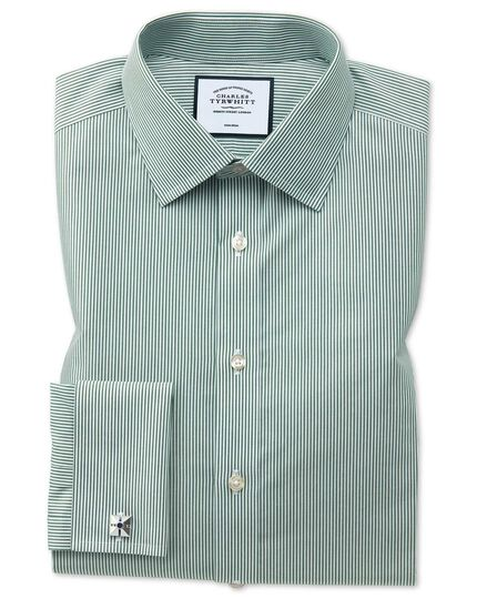Slim fit non-iron olive Bengal stripe shirt