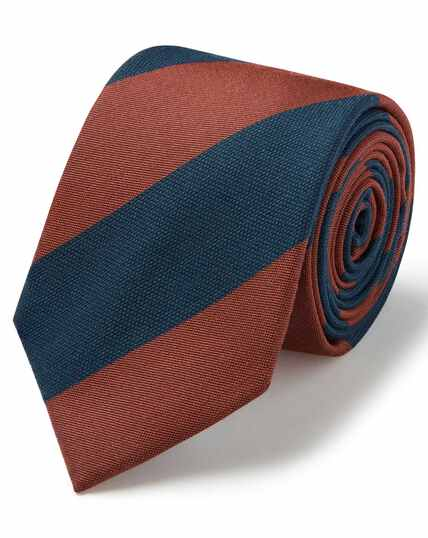 Orange and teal wool silk wide stripe classic tie