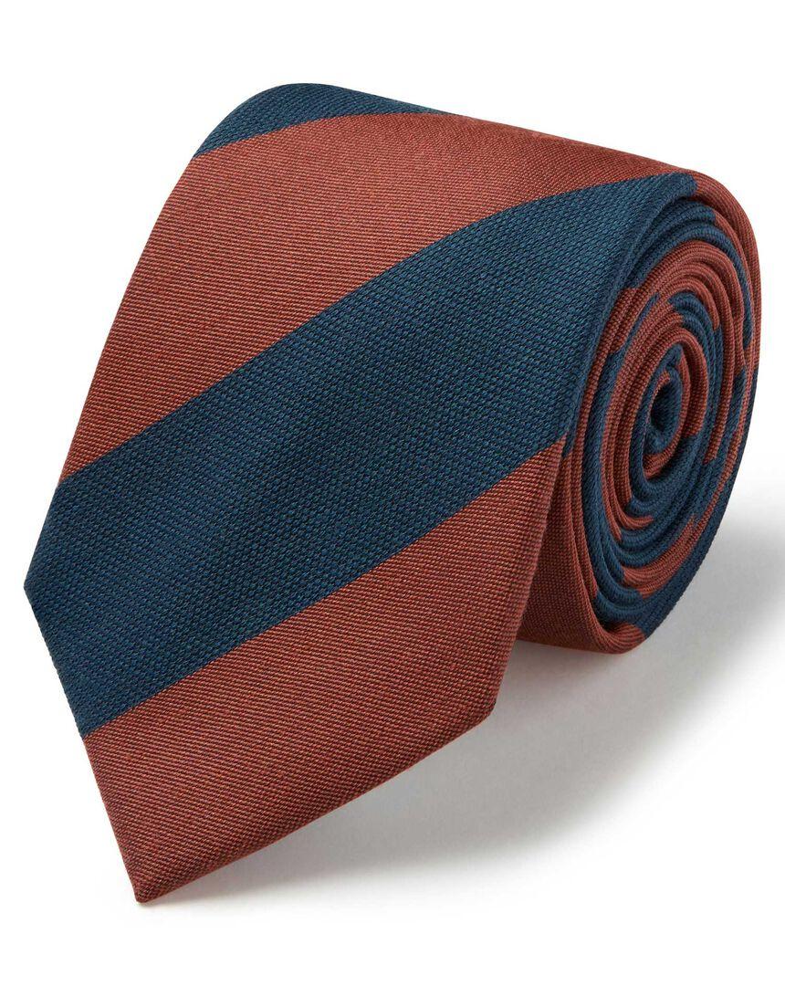 Orange and teal wide stripe wool silk block stripe classic tie