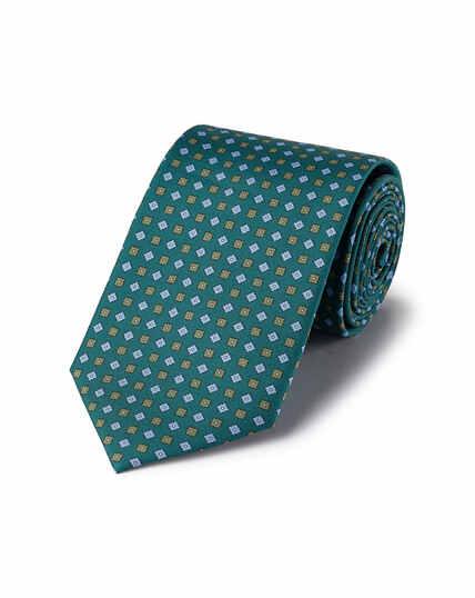 Silk Geometric Print Tie - Green Multi