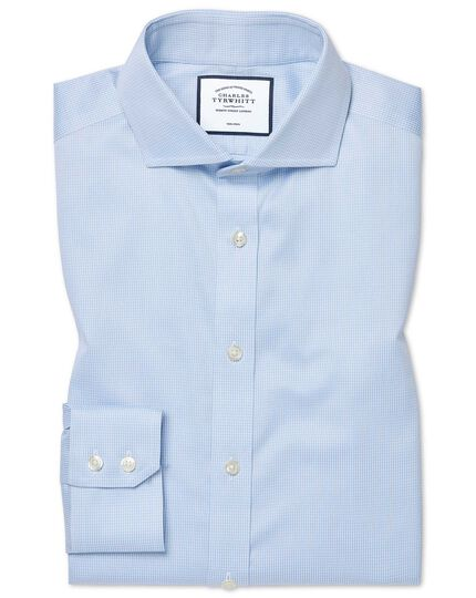 Extra slim fit non-iron cutaway sky blue puppytooth shirt
