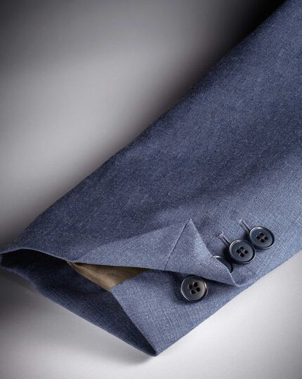 Airforce blue slim fit cross hatch weave italian suit jacket