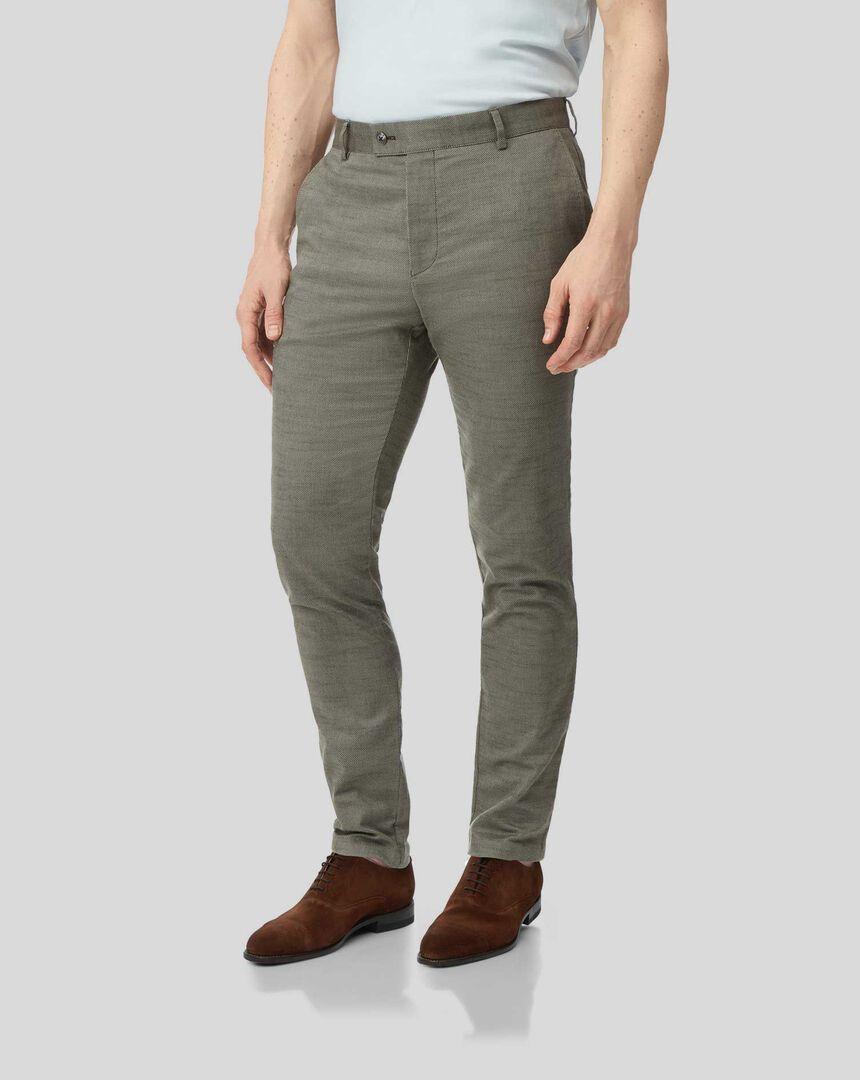 Non-Iron Twill Texture Pants - Olive