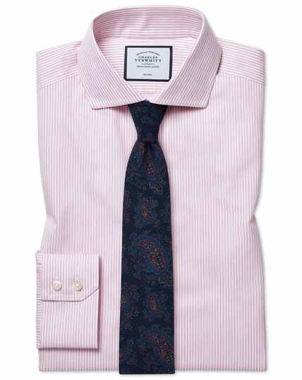 Extra slim fit cutaway collar non-iron soft twill pink stripe shirt