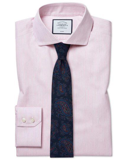 Extra slim fit cutaway collar non-iron soft twill pink stripe shirt