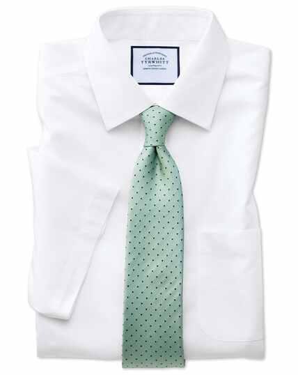 Slim fit white non-iron poplin short sleeve shirt