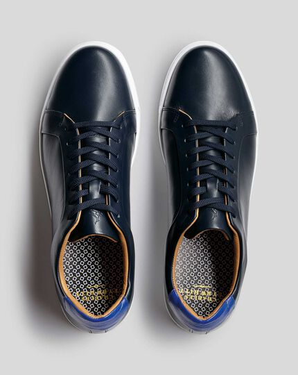 Leather Trainers  - Navy