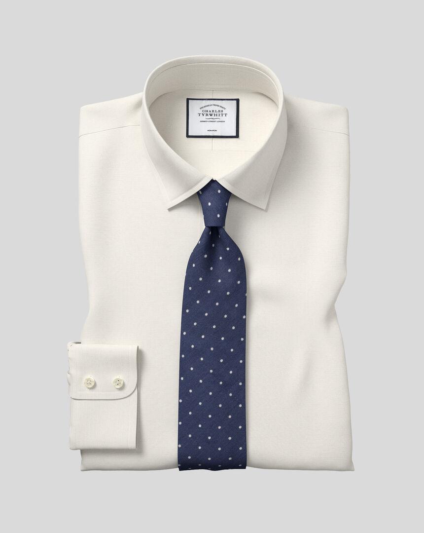 Bügelfreies Popeline-Hemd mit Kent Kragen  - Cremefarben