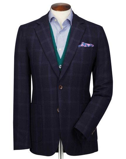 Slim fit navy and blue check wool flannel blazer