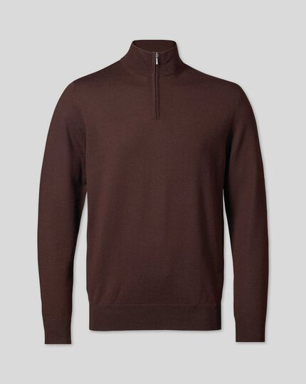 Merino Zip Neck Jumper - Dark Brown