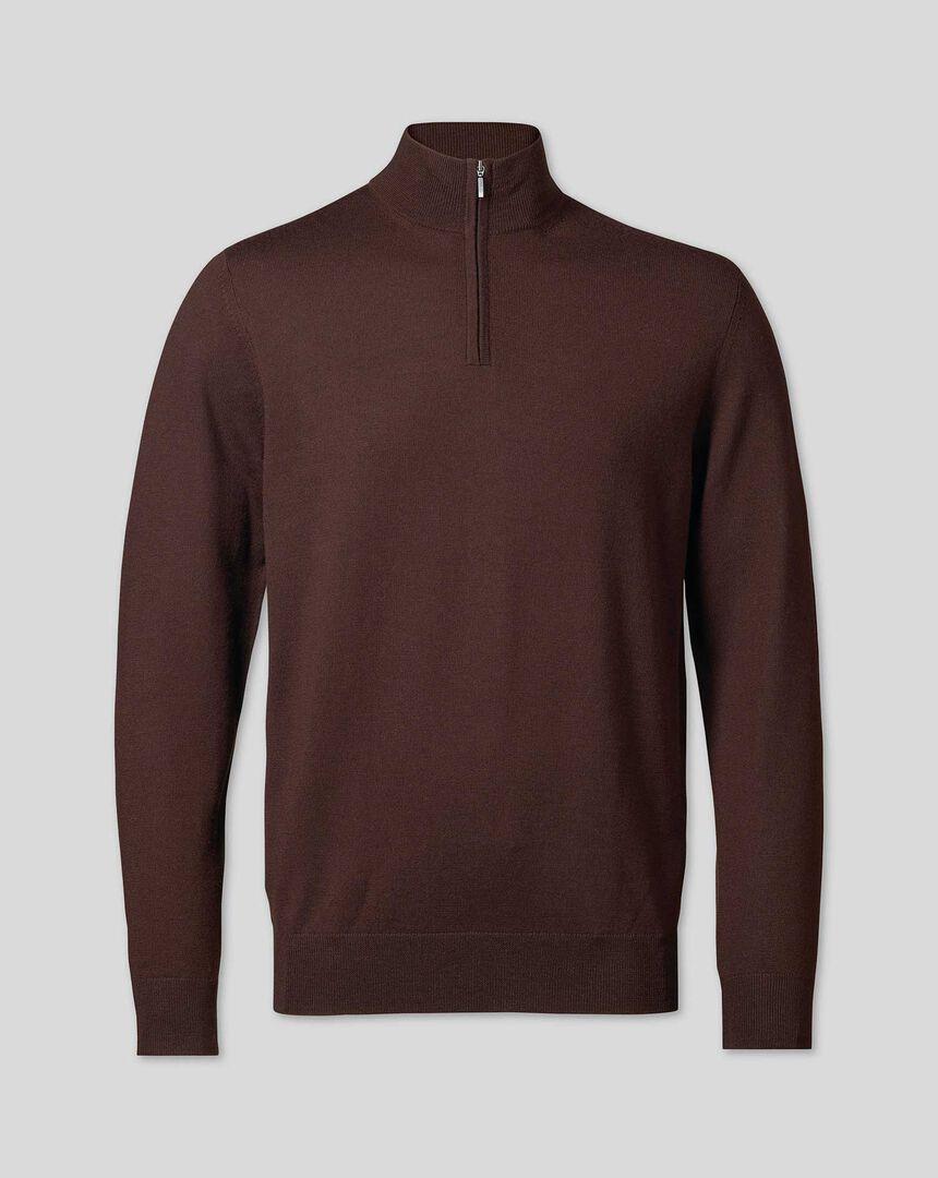 Merino Zip Neck Sweater - Dark Brown