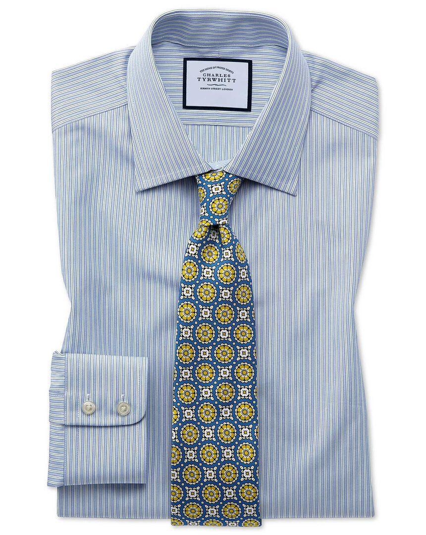 Classic fit Egyptian cotton poplin  blue and green fine stripe shirt