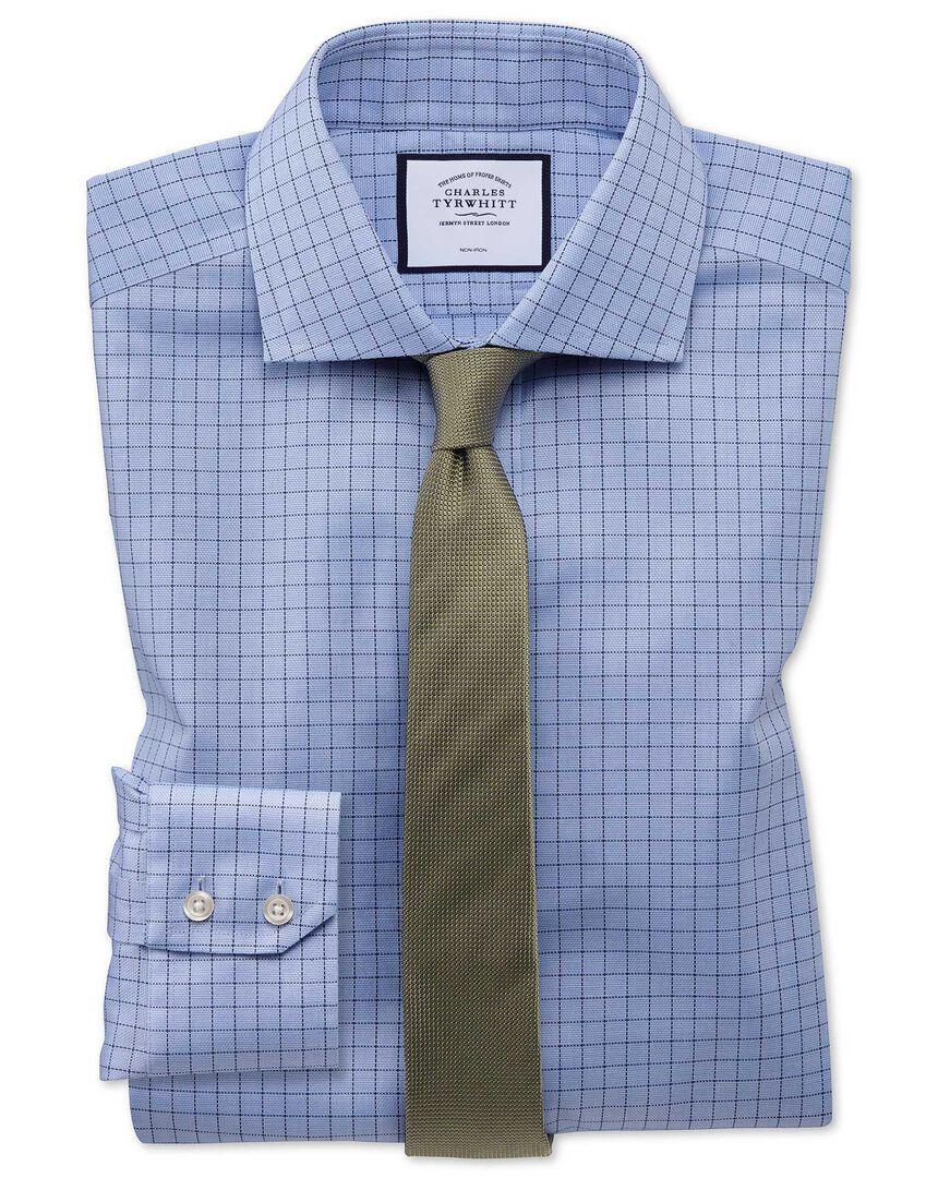 Extra slim fit non-iron cotton stretch Oxford blue shirt