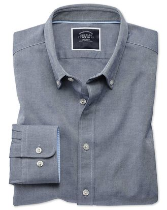 Extra slim fit button-down washed Oxford plain denim blue shirt
