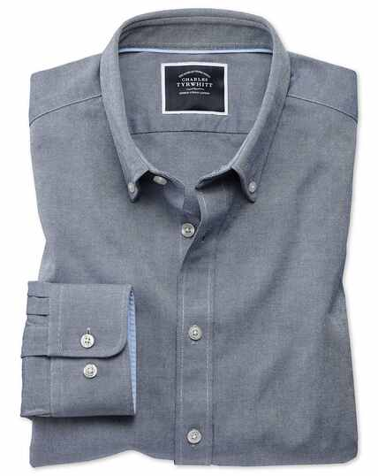 ce9be763c627 ... Extra slim fit button-down washed Oxford plain denim blue shirt