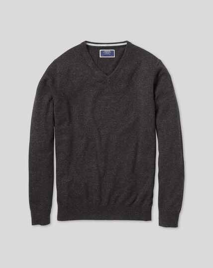 Charcoal v-neck pure cashmere jumper