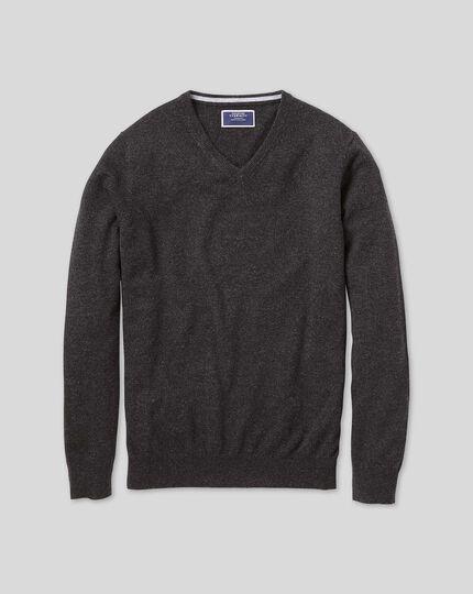 Charcoal v-neck pure cashmere jumper