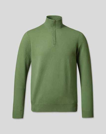 Merino Cashmere Zip Neck Sweater - Olive