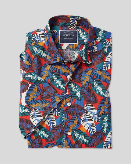 Classic Collar Short Sleeve Linen Cotton Shirt - Red