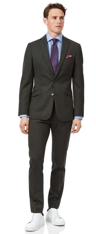 Green extra slim fit merino business suit