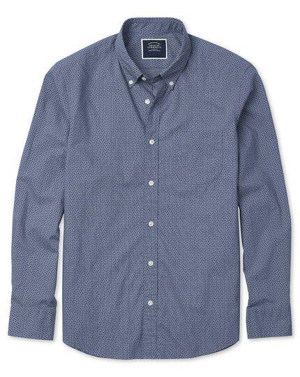 Extra slim fit navy print soft washed stretch poplin shirt