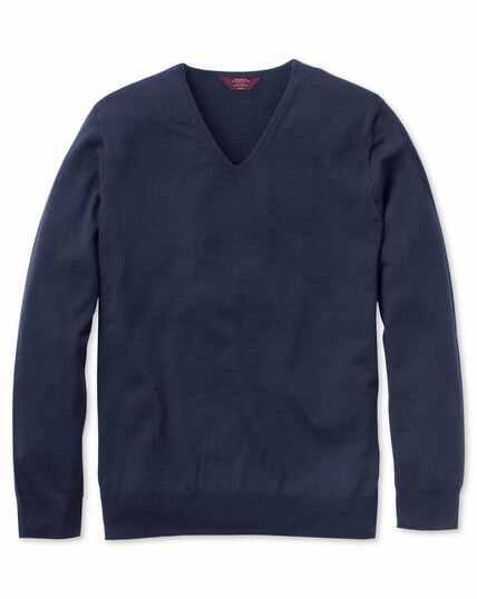Nahtloser Pullover extrafeine Merinowolle mit V-Ausschnitt in Marineblau