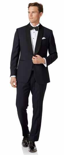 Midnight blue slim fit shawl collar tuxedo