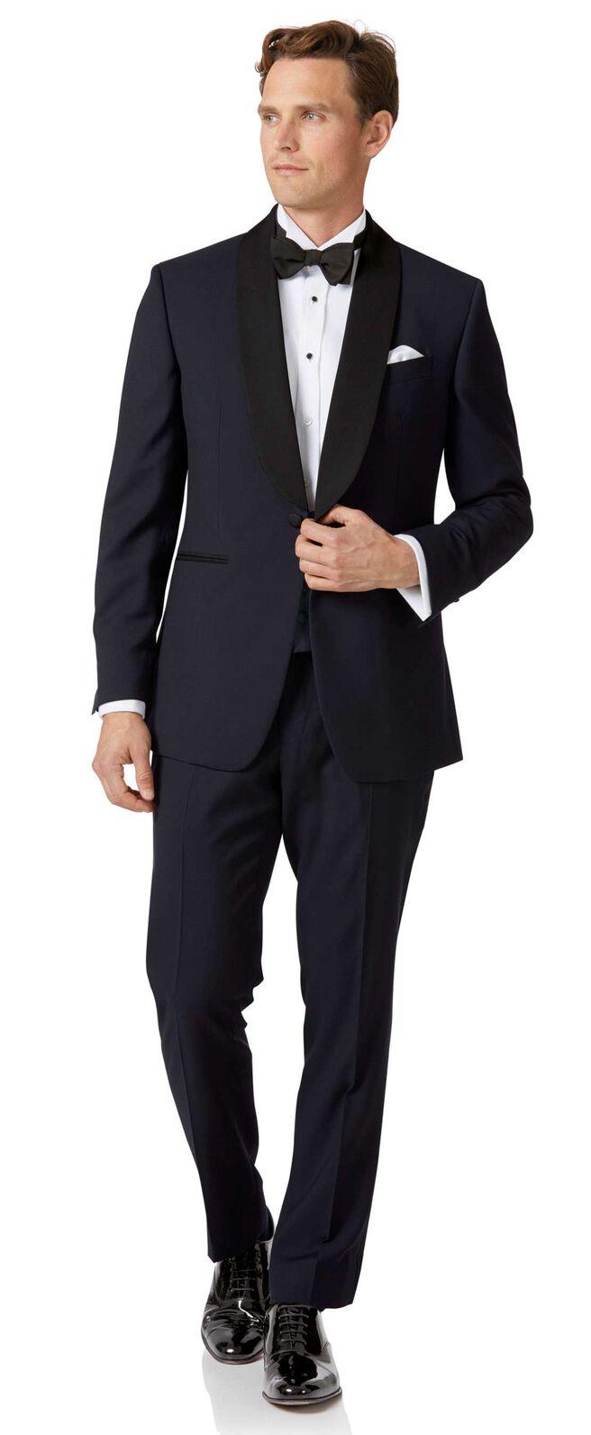 Midnight blue slim fit shawl collar dinner suit