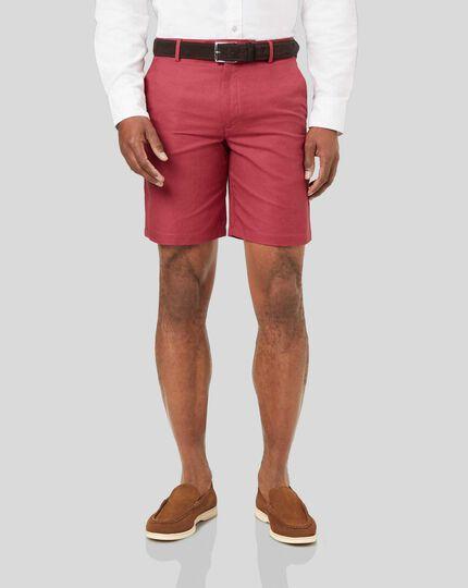 Linen Cotton Shorts - Red