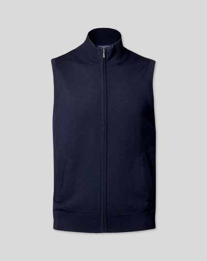 Merino Zip Through Gilet - Navy