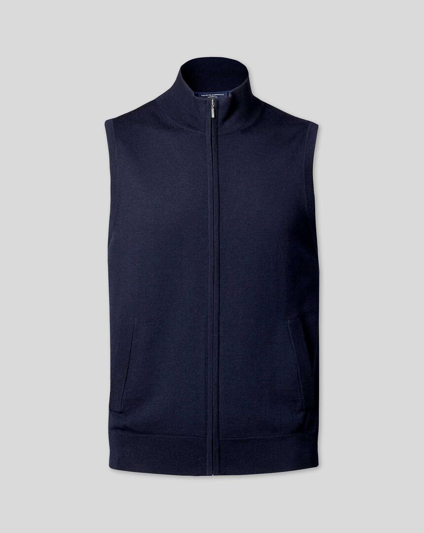 Merino Zip Through Vest - Navy
