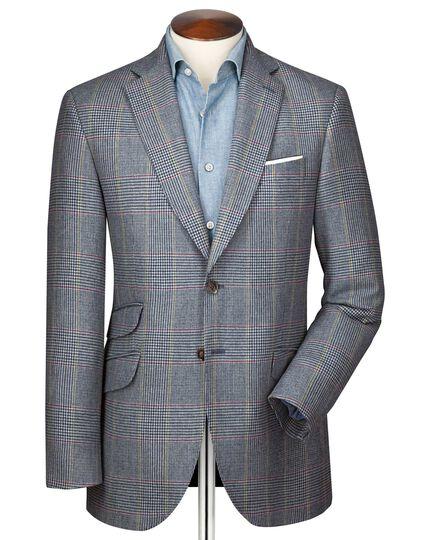 Slim fit blue Prince of Wales check luxury border tweed jacket