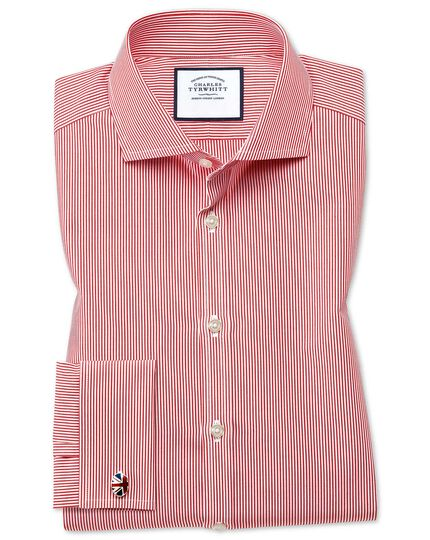 Cutaway Collar Non-Iron Bengal Stripe Shirt - Red