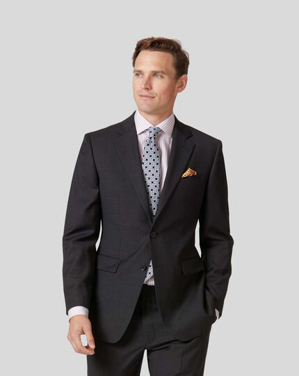 Twill Business Suit Jacket - Charcoal