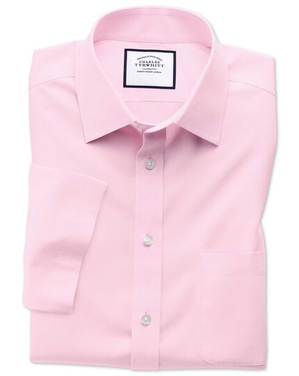 Classic fit non-iron poplin short sleeve pink shirt