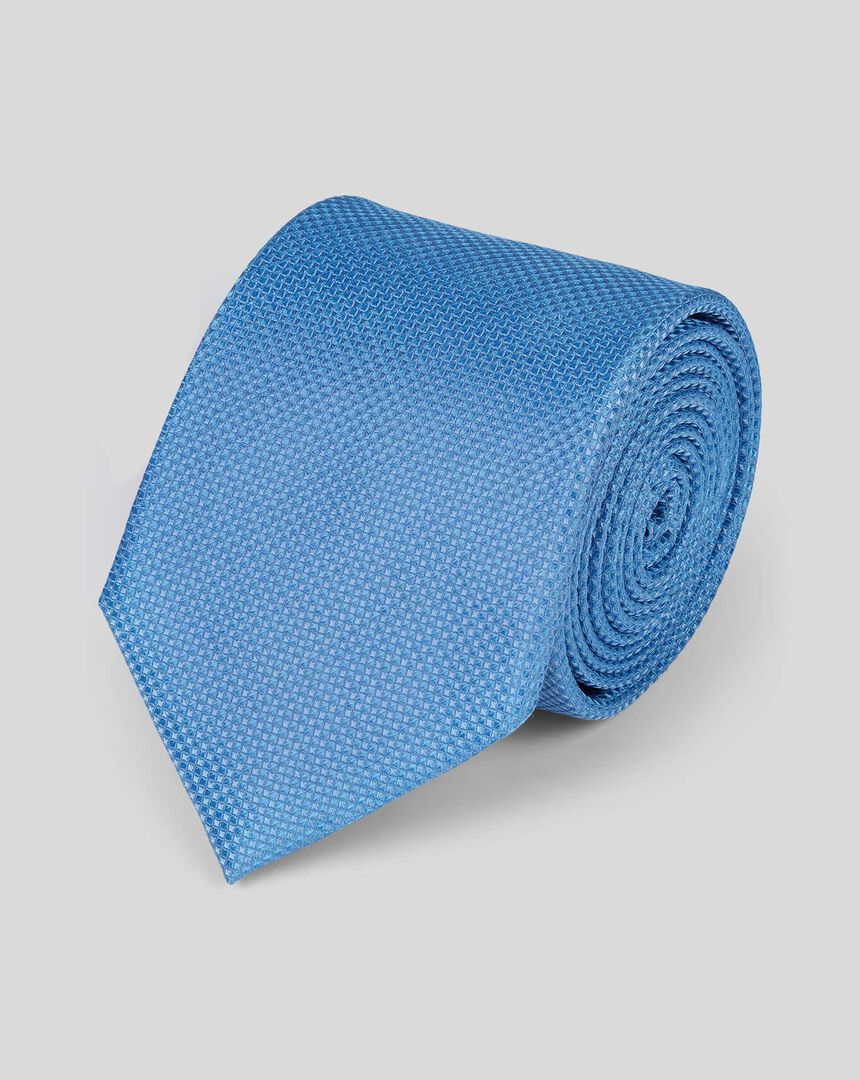 Silk Textured Plain Stain Resistant Classic Tie - Sky