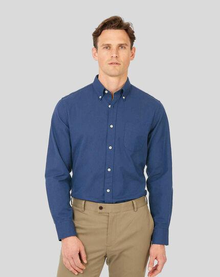 Vorgewaschenes Oxfordhemd mit Button-down-Kragen - Blau